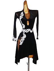 cheap -Latin Dance Dress Appliques Crystals / Rhinestones Women's Performance Long Sleeve Spandex