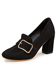 cheap -Women's Heels Pumps Round Toe Classic Daily Button Solid Colored Nubuck Walking Shoes Almond / Black / Khaki