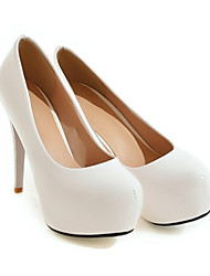 cheap -Women's Heels Stiletto Heel Round Toe Classic Daily PU Solid Colored White Black Red