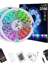 cheap -LED Strip Lights 65ft 2*10m WIFI App Intelligent Control 5050 RGB LED Smart Strip Light with IR 24 Key Controller or DC12V Adapter Kit