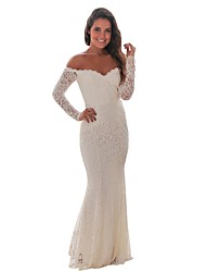 cheap -Women's Trumpet / Mermaid Dress Maxi long Dress - Long Sleeve Solid Color Lace Zipper Summer Strapless Sexy Party Skinny 2020 White Black S M L XL