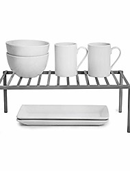 cheap -premium cabinet storage shelf - large (16 x 8.5 inch) - steel metal - rust resistant - cupboard, plate, dish, counter & pantry organization - kitchen [charcoal gray]