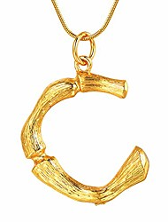 cheap -18k gold plated bamboo initial letter necklace dainty everyday necklaces 20inch adjustable steel snakeskin gold chain for layering(c-gold)