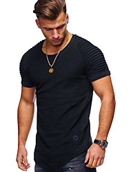 cheap -Men's T shirt Solid Color Short Sleeve Outdoor clothing Tops White Black Khaki