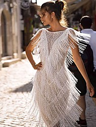 cheap -Women's Shift Dress Knee Length Dress - Sleeveless Solid Color Tassel Fringe Patchwork Summer Casual Loose 2020 White S M L XL