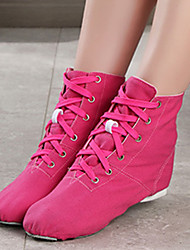 cheap -Women's Jazz Shoes Practice Trainning Dance Shoes Flat Flat Heel Fuchsia Lace-up / Performance