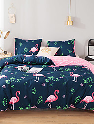 cheap -Pink Flamingo Print 3 Pieces Bedding Set Duvet Cover Set Modern Comforter Cover Ultra Soft Hypoallergenic Microfiber and Easy Care(Include 1 Duvet Cover and 1 or2 Pillowcases)