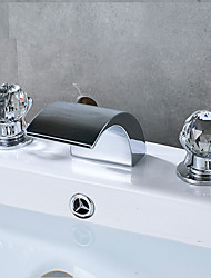 cheap -Bathroom Sink Faucet - Waterfall Chrome Widespread Three Holes / Two Handles Three HolesBath Taps / Brass