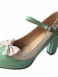 cheap -woman's high heel lolita shoes cute bowknot mary jane shoes green 9.5