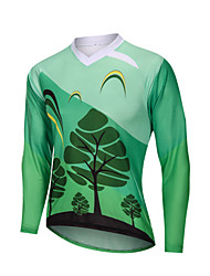 cheap -YORK TIGERS Men's Long Sleeve Cycling Jersey Downhill Jersey Forest Green Bike Tee Tshirt Sports Clothing Apparel / Advanced / Micro-elastic