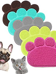 cheap -pvc pet dog cat puppy kitten dish bowl food water feeding placemat, non-slip cat litter mat paw shape, grey small