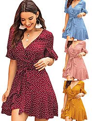 cheap -Women's Shift Dress Midi Dress Yellow Blushing Pink Wine Green Light Blue Short Sleeve Polka Dot Summer V Neck Hot Boho 2021 XS S M L XL