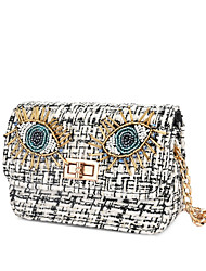 cheap -Women's Bags PU Leather Linen Evening Bag Crossbody Bag Crystals Chain 2020 Christmas Gifts Party Event / Party Black Blue Blushing Pink Beige