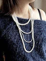 cheap -Women's Beaded Necklace Necklace Handmade Friends Love Precious Lucky Blessed Luxury Unique Design Classic Elegant Imitation Pearl Alloy White 80 cm Necklace Jewelry 1pc For Anniversary Gift Formal