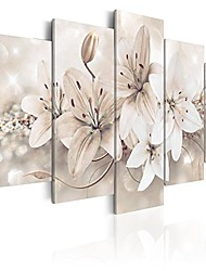 "cheap -handart canvas wall art flowers lily 39.37""x19.68"" 5pcs painting canvas prints picture artwork image framed contemporary modern photo wall home decorations b-a-0297-b-n"