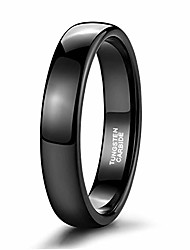 cheap -4mm mens womens wedding band black tungsten ring high polish dome comfort fit size 8