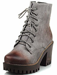 cheap -women's vintage military combat boots platform chunky high heel lace up cowboy moto martin ankle booties