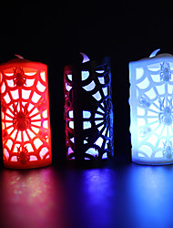 cheap -Halloween Candle Light Spider Web Skull Light Led Colorful Gradient Flash Terrible Decoration Pumpkin Lamp
