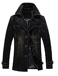 cheap -men`s vintage label collar denim jeans jacket trench coat (us xl, black)