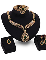 cheap -Women's Green Red Synthetic Diamond Bridal Jewelry Sets Simple Basic Elegant Earrings Jewelry Gold For Wedding Engagement 1 set