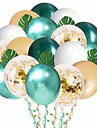 cheap -jungle theme party balloons 50 pack, 12 inches green white gold latex balloons with 10pcs palm leaves for baby shower, tropical, birthday party decorations