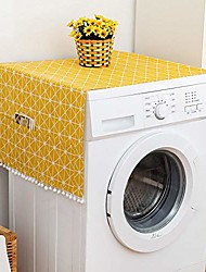 cheap -fridge dust cover multi-purpose washing machine cotton linen top cover with side storage pockets-yellow white stripes(51x21inch)