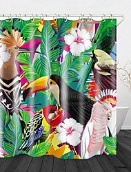 cheap -Painting flowers and Birds Print Waterproof Fabric Shower Curtain for Bathroom Home Decor Covered Bathtub Curtains Liner Includes with Hooks