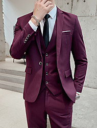 cheap -Black / Blue / Burgundy Solid Colored Standard Fit Polyester Suit - Notch Single Breasted One-button