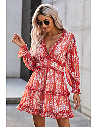 cheap -Women's A Line Dress Short Mini Dress White Red Green Brown Navy Blue Light Blue Long Sleeve Floral Backless Print Fall Spring V Neck Hot Casual Mumu Puff Sleeve 2021 S M L XL