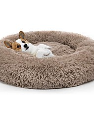 cheap -donut cat dog bed, faux fur marshmellow dog cat bed, self warming cuddler washable round pet bed for cats and small dogs