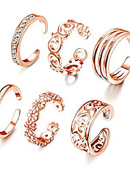 cheap -6pcs adjustable toe ring for women girls open tail ring band hawaiian foot jewelry rose gold tone