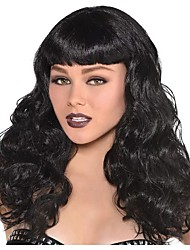 cheap -Cosplay Wig Wavy Black Curly With Bangs Wig Long Black Synthetic Hair Women's Anime Cosplay Exquisite Black