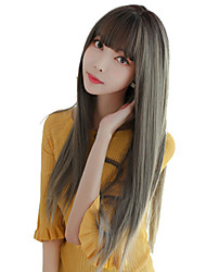 cheap -Synthetic Wig Straight With Bangs Wig Very Long Brown Grey Black Chocolate Synthetic Hair 30 inch Women's Soft Classic Exquisite Brown