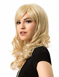 cheap -Human Hair Blend Wig Curly Body Wave With Bangs Blonde Party Women New Arrival Capless Women's Strawberry Blonde / Light Blonde