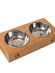 cheap -Dog Cat Bowls & Water Bottles / Feeders 350 L Stainless steel Casual / Daily Solid Colored Wood Bowls & Feeding