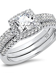cheap -sz 10 sterling silver cushion cubic zirconia cz 2pc halo wedding engagement ring insert set