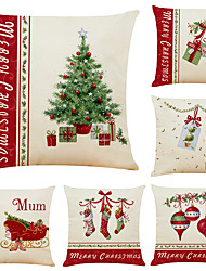 cheap -1 Set of 6 pcs Christmas Series Decorative Linen Throw Pillow Cover 18 x 18 inches 45 x 45cm For Home Decoration Christmas Decoration