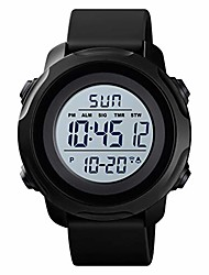 cheap -men's digital sports watch military electronic waterproof wrist watches for men with stopwatch alarm led backlight (white dial)
