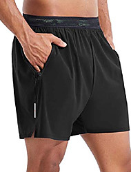 """cheap -evo men's 5"""" athletic running shorts with built-in mesh liner zipper pockets quick-dry active gym sport black large"""
