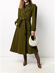 cheap -Women's Solid Colored Drawstring Basic Fall & Winter Coat Long Daily Long Sleeve Wool Coat Tops Green