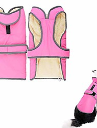 cheap -dog coat waterproof reflective fleece lining cozy warm dog jacket winter cold weather outdoor apparel clothes for small medium large dogs, s m l xl xxl (m, pink)