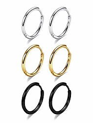 cheap -huggie hoop earrings set for women - 8mm tiny 20g surgical steel black gold silver sleeper earrings cartilage hoop earrings set hypoallergenic small hoop earrings for girls women men