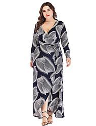 cheap -Women's Wrap Dress Maxi long Dress - Long Sleeve Print Patchwork Fall V Neck Plus Size Casual 2020 White Gold XL XXL 3XL 4XL 5XL 6XL