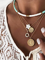 cheap -Women's Necklace Layered Necklace Stacking Stackable Flower European Ethnic Fashion Alloy Gold 38 cm Necklace Jewelry 1pc For Beach