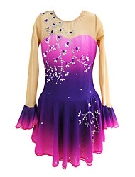 cheap -Figure Skating Dress Women's Girls' Ice Skating Dress Fuchsia Spandex High Elasticity Training Competition Skating Wear Handmade Crystal / Rhinestone Long Sleeve Ice Skating Winter Sports Figure
