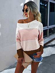 cheap -Women's Basic Knitted Color Block Pullover Acrylic Fibers Long Sleeve Sweater Cardigans Crew Neck Round Neck Fall Winter Blue Yellow Blushing Pink