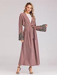 billige -Voksne Dame A-linje Seddel Abaya Muslimsk kjole Maxi kjoler Til Fest polyester Broderi Halloween Karneval Maskerade Kjole