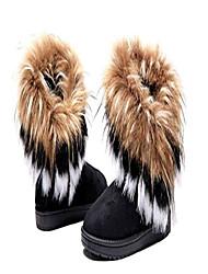 cheap -women winter warm high long snow ankle boots faux fox rabbit fur tassel shoes