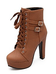 cheap -Women's Boots Wedge Heel Round Toe Classic Daily Solid Colored PU Booties / Ankle Boots Black / Brown / Beige