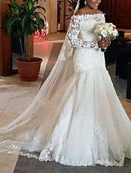 cheap -A-Line Wedding Dresses Off Shoulder Court Train Lace Tulle Long Sleeve Formal with 2020